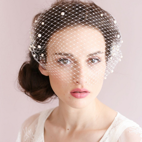 1887704c9 Pearl Netted Birdcage Veil. Pearl Netted Birdcage Veil — $175.00 · Peep Toe  Espadrille Wedges with Ankle Strap - RDevine Fashion ...