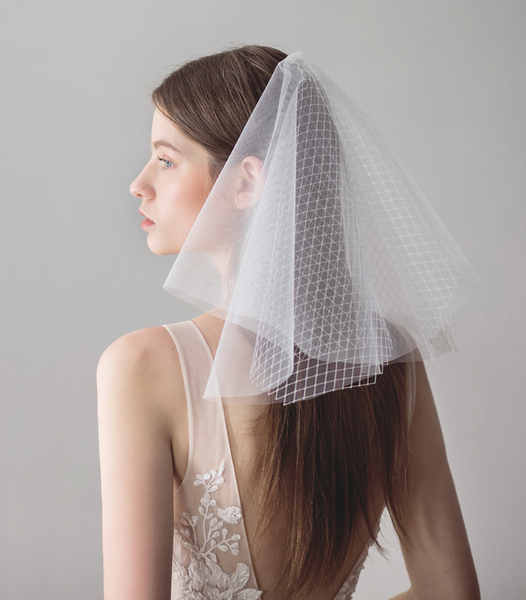 Dual Layer Netted Tulle Blusher Veil