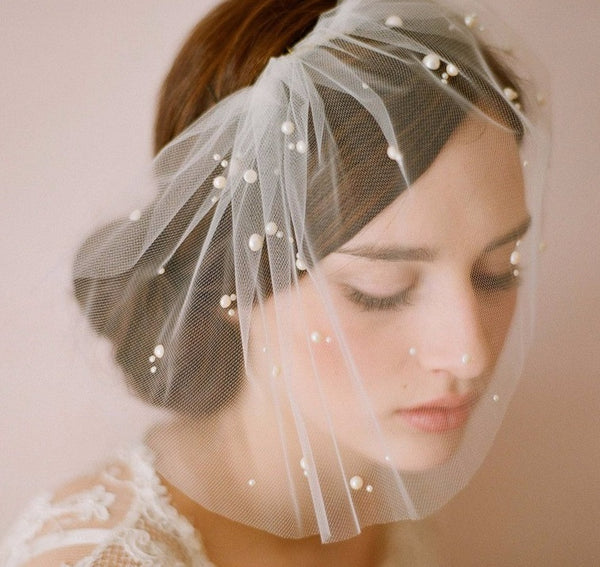 Soft Tulle Birdcage Blusher with Pearl Detail