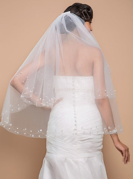 Tulle Two-Tier Angle Cut Fingertip Veil with Pearl Embellishment