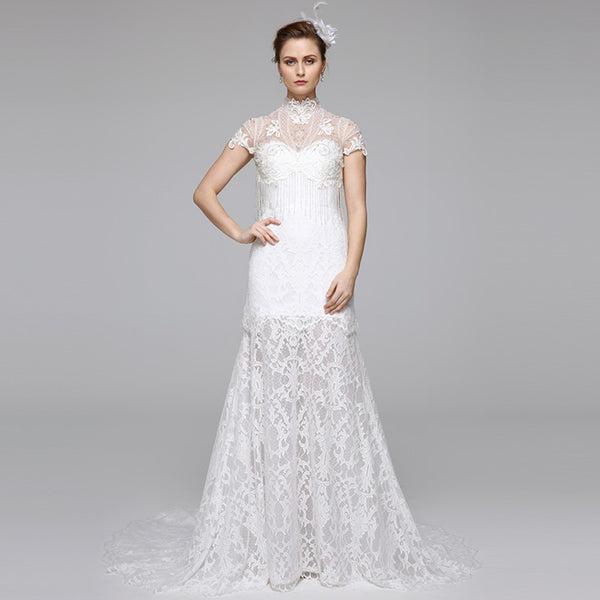 Lace Trumpet Wedding Gown with Sheer Illusion High Neck and Fringed Beading - RDevine Fashion (Wedding & Bridal)