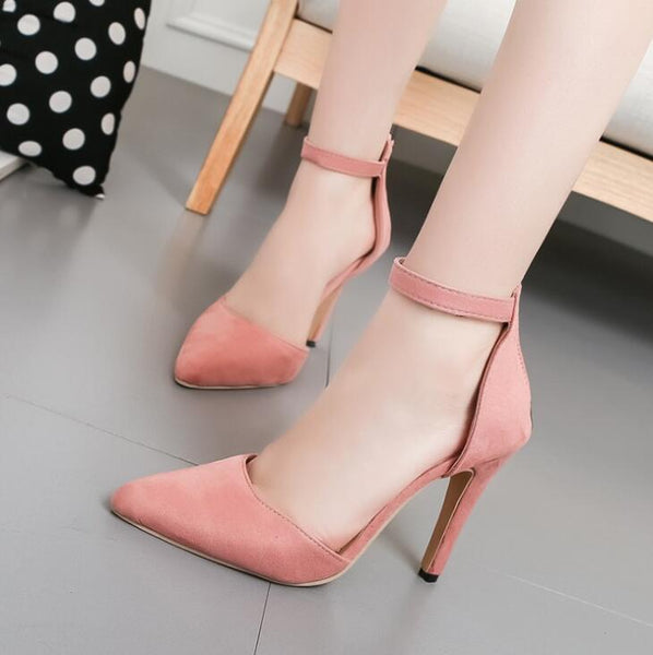Pointed Toe Ankle Strap Pump