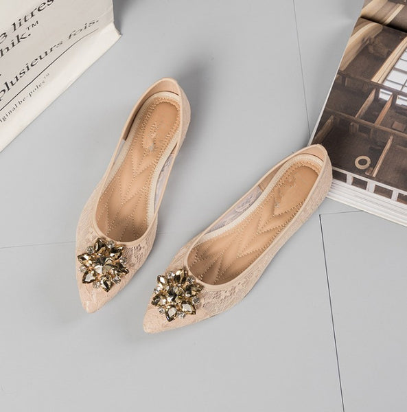 Pointed Toe Sheer Lace Flat with Crystal Embellishment
