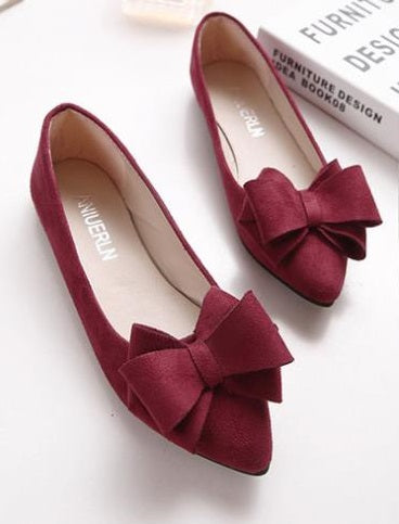 Pointed Toe Bow Flat