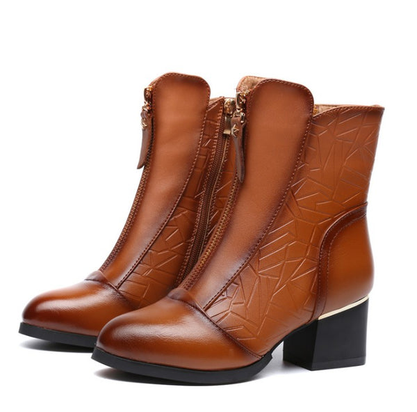 Leather Zip-Front Boot with Chunky Heel