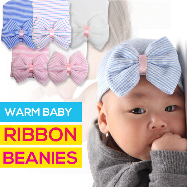 Warm Baby Ribbon Beanies - ShopEmpires