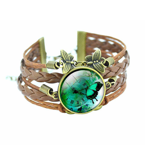 Butterfly Cabochon Glass Bronze Leather Bracelet - ShopEmpires