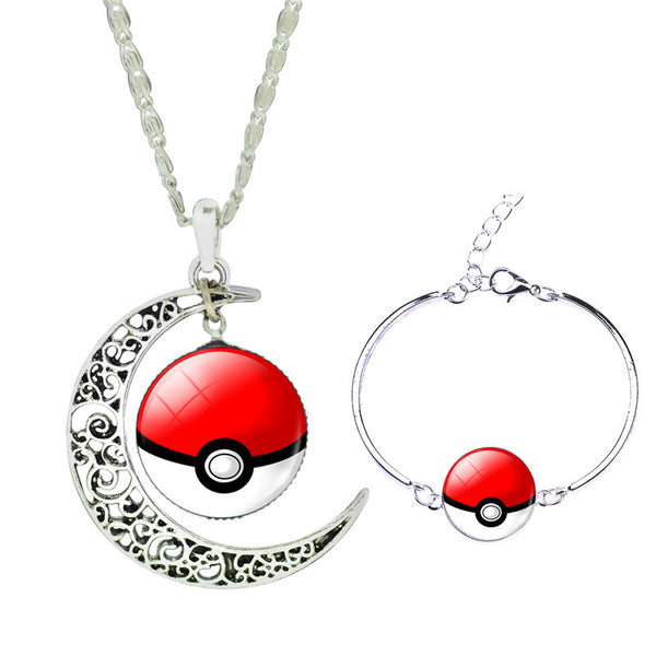 SPECIAL GIVEAWAY - Pokeball Cabochon Necklace & Bracelet Jewellery Set - ShopEmpires