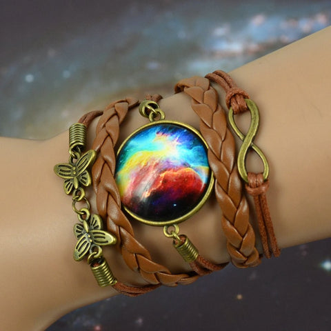 Galaxy Cabochon Glass Bronze Leather Bracelet - ShopEmpires