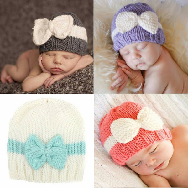 New Fashion - Baby Knit Bow Winter Crochet