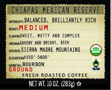 Chiapas Mexican Reserve Organic 10oz Ground Coffee