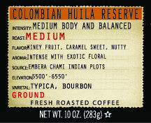 Colombian Huila Reserve 10oz Ground Coffee