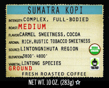 Sumatra Kopi 10oz  Organic Estate Ground Coffee