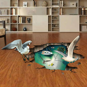 Miico Creative 3D Sea Gulls Birds Sea Island PVC Removable Home Room Decorative Wall Floor Decor Sticker