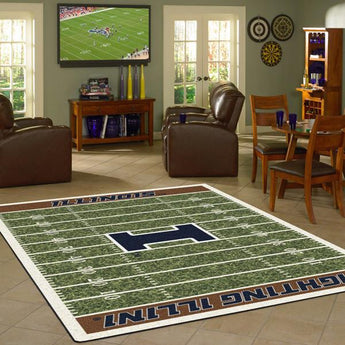 Illinois University Football Field Rug
