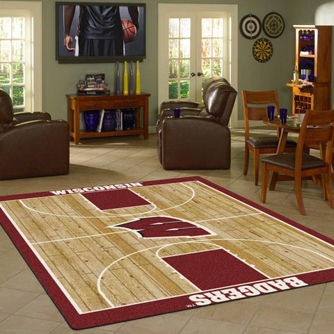 Wisconsin University Basketball Court Rug