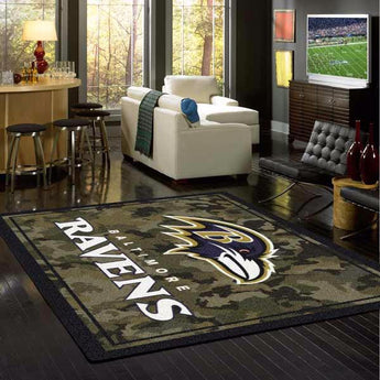 Baltimore Ravens NFL Team Camo Rug