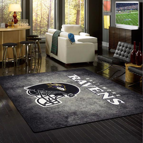 Baltimore Ravens NFL Team Distressed Rug