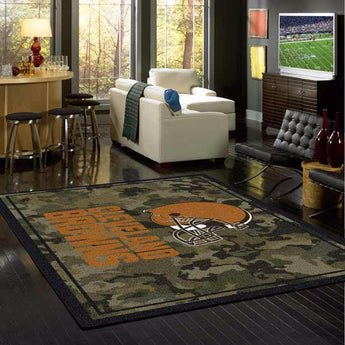 Cleveland Browns NFL Team Camo Rug