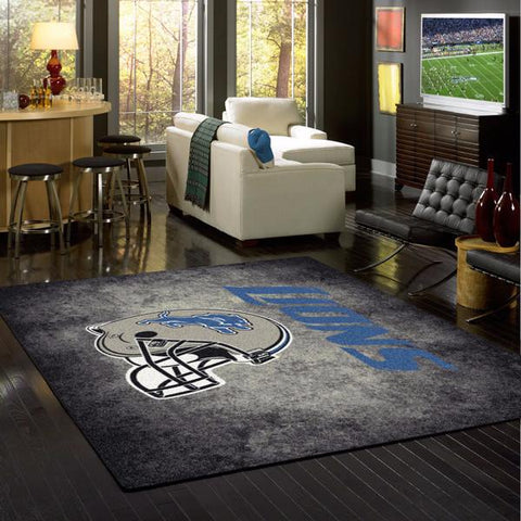 Detroit Lions NFL Team Distressed Rug