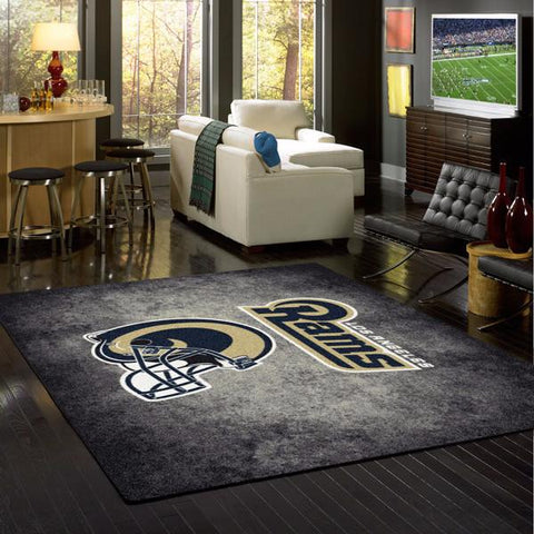 Los Angeles Rams NFL Team Distressed Rug