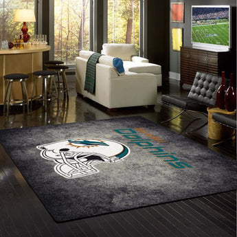 Miami Dolphins NFL Team Distressed Rug