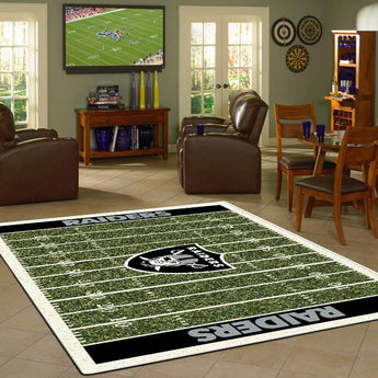 Oakland Raiders Football Field Rug - NFL Team