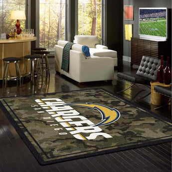 Los Angeles Chargers NFL Team Camo Rug
