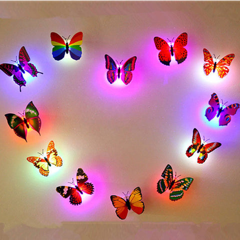 Honana DX-138 6PCS Colors Changing LED Flashing Butterfly Night Light Decorative Lights 3D Stickers