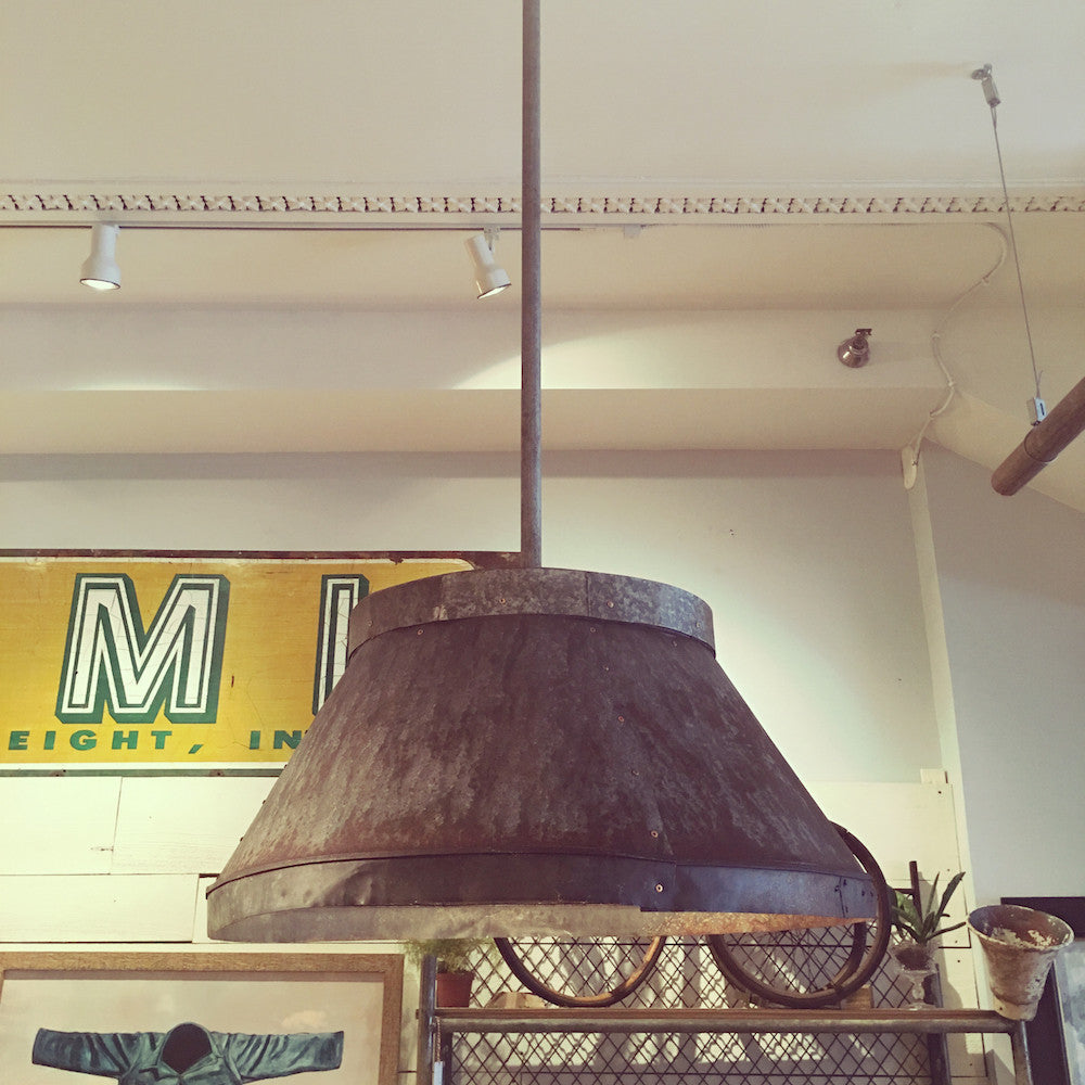 Galvanized Pendant Light with Copper Rivets