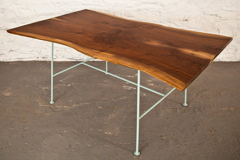 Walnut Dining Table, Robins Egg Blue Base