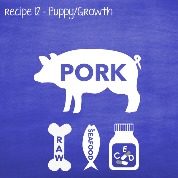 PP12 Raw Pork for Puppies, Lactating & Adult Dogs