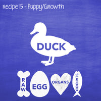 PP15 Raw Duck for Puppies, Lactating & Adult Dogs