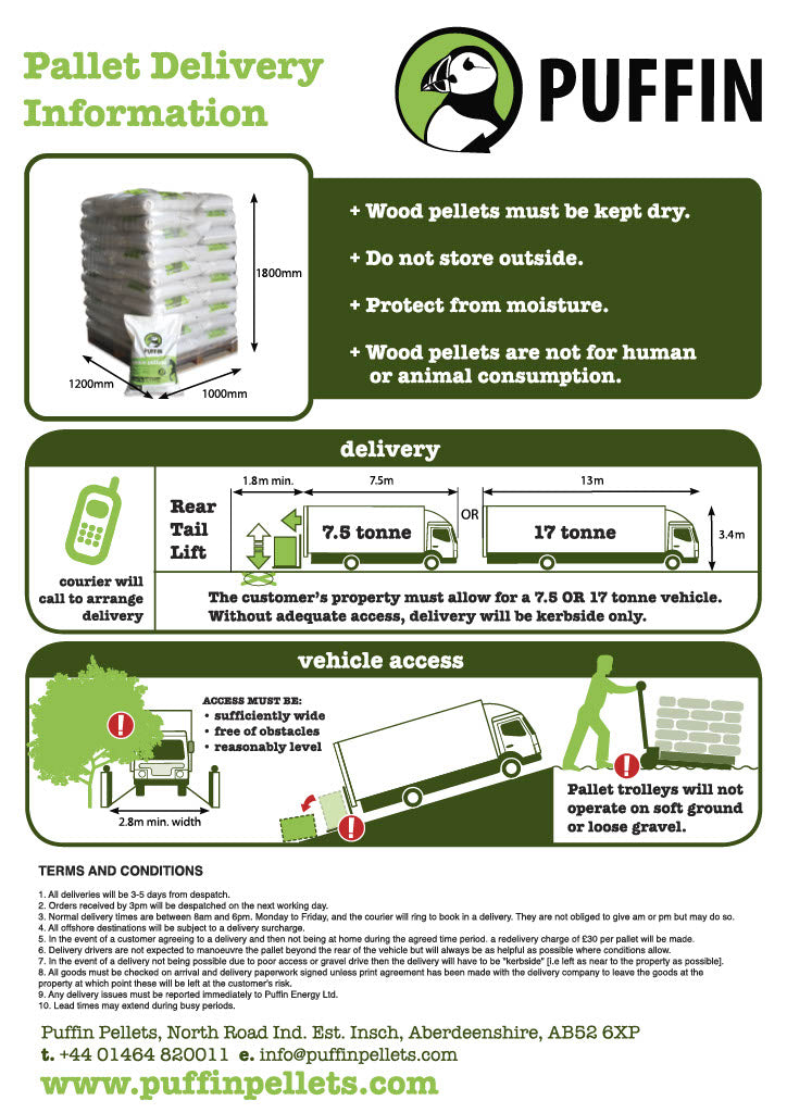 Delivery information for pallets