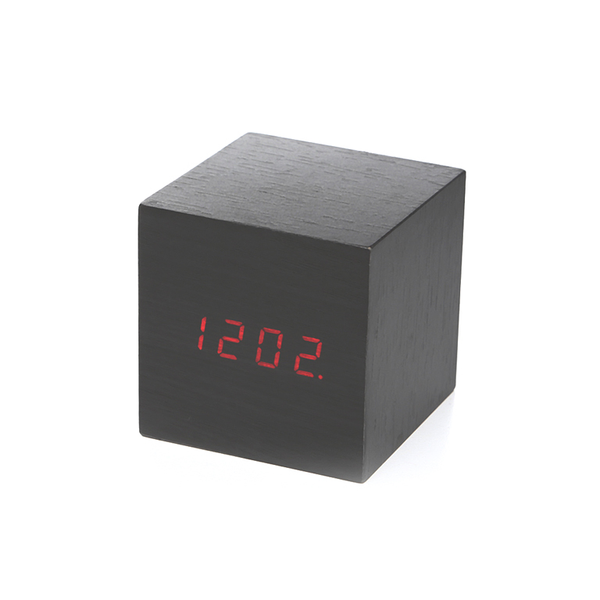 Alarm Clock Wood Cube, Dark