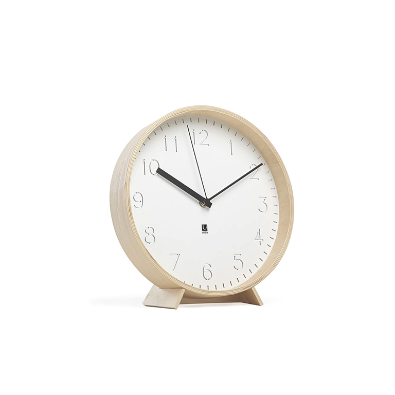 Rimwood Desk/Wall Clock, White Natural