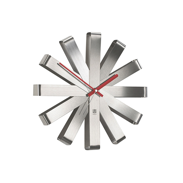 "Ribbon Wall Clock, 12"" Steel"