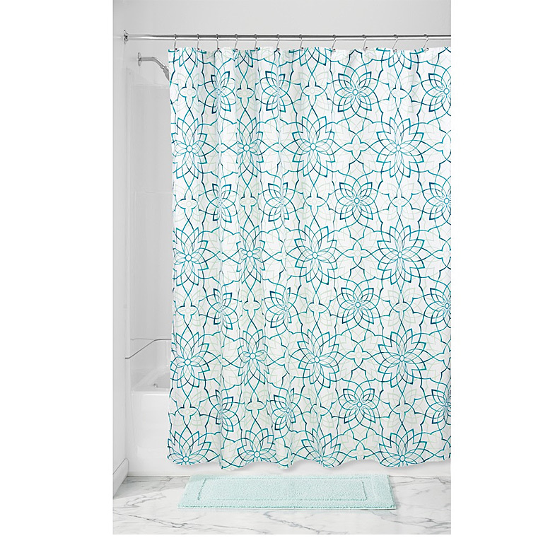 Kenzie Floral Shower Curtiain, Deep Teal