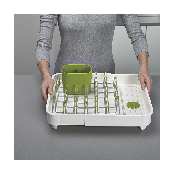 Extend Expandable Dish Rack,  White/Green