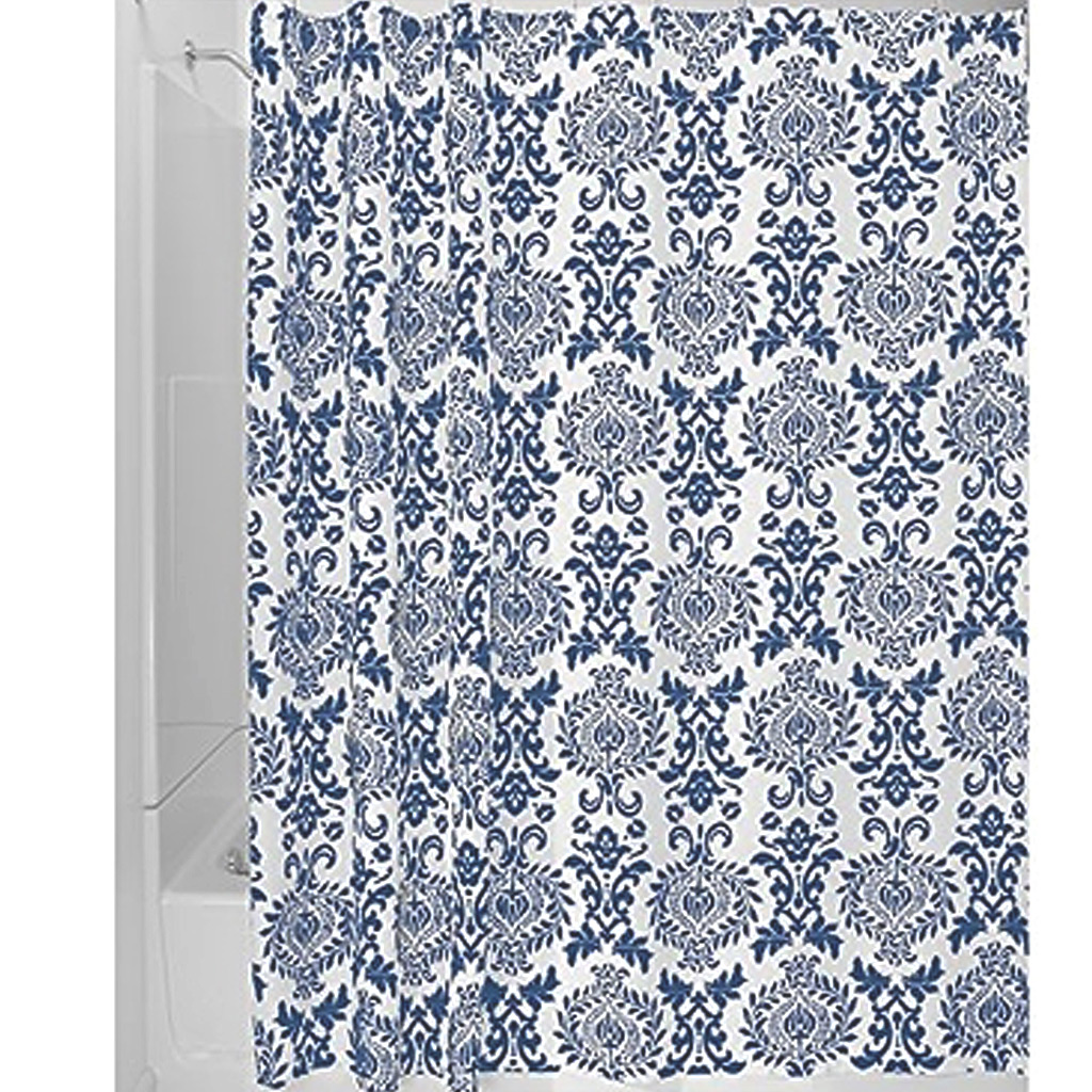 Damask Shower Curtain, Navy