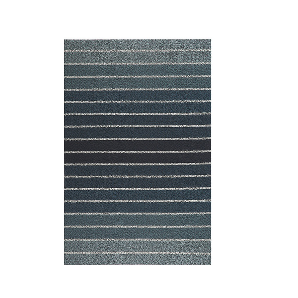 Block Stripe Shag Big Mat,36x 60, Denim