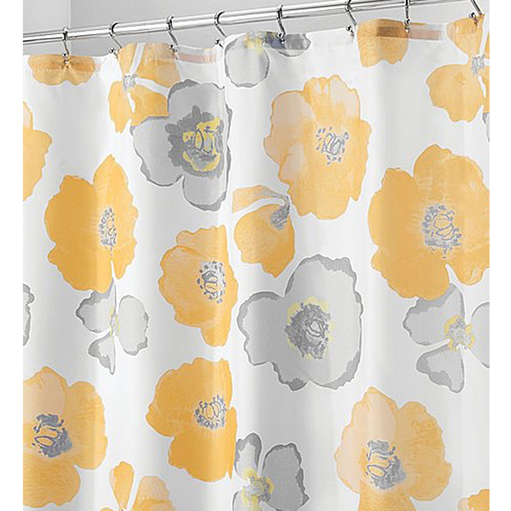 Large Poppy Shower Curtain, Yellow/Grey