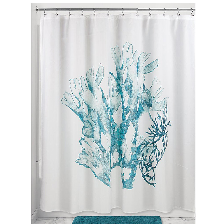 Coral Shower Curtain, Deep Teal