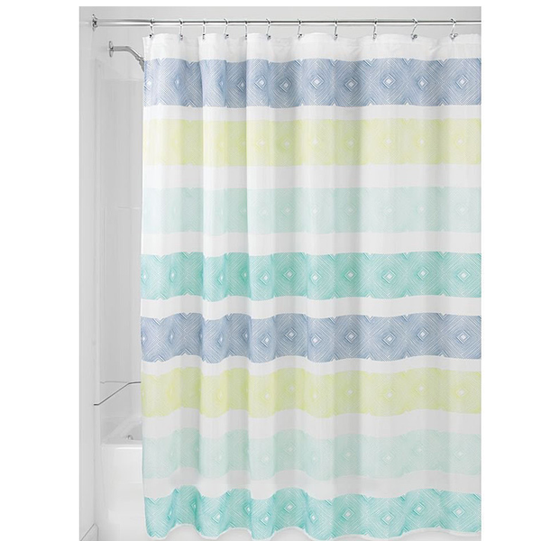 Textured Stripe Shower Curtain, Blue/Lime