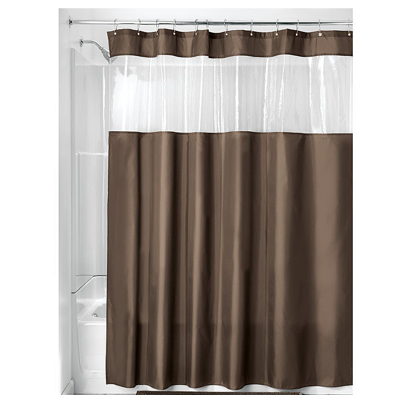 Poly View Shower Curtain, Charcoal/Clear