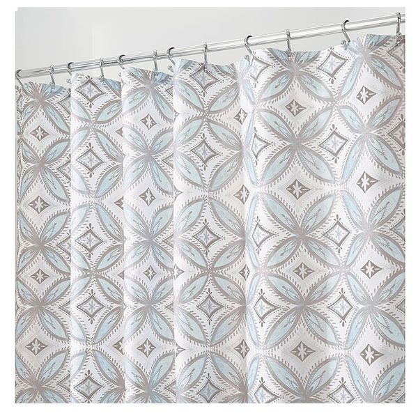 Vintage Tile Shower Curtain, Taupe/Blue