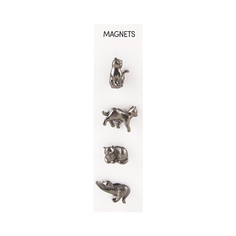 Cast Animal Cats, Silver Magnets, s/4