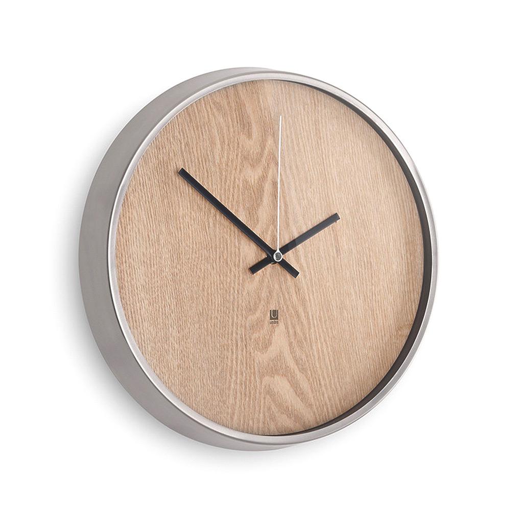 Madera Wall Clock Natural/Nickel