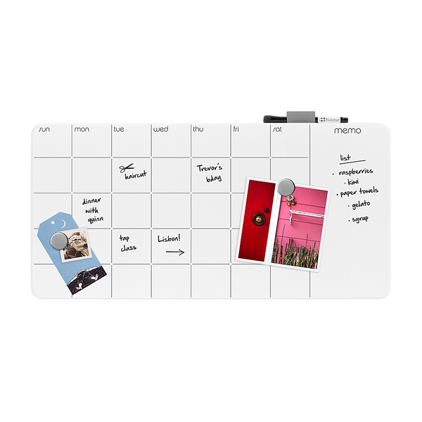 Glass Monthly Planner, White 12x23.5