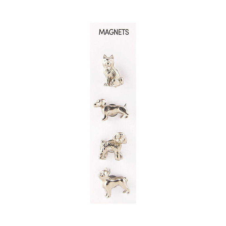 Cast Animal Dogs, Silver Magnets, s/4